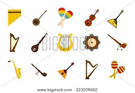 Musical instrument icon set. Flat set of musical instrument vector icons for web design isolated on white background