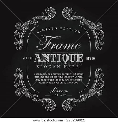 Antique frame chalkboard hand drawn vintage label banner vector illustration