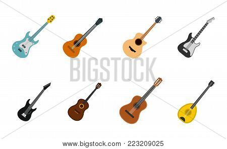 Guitar icon set. Flat set of guitar vector icons for web design isolated on white background