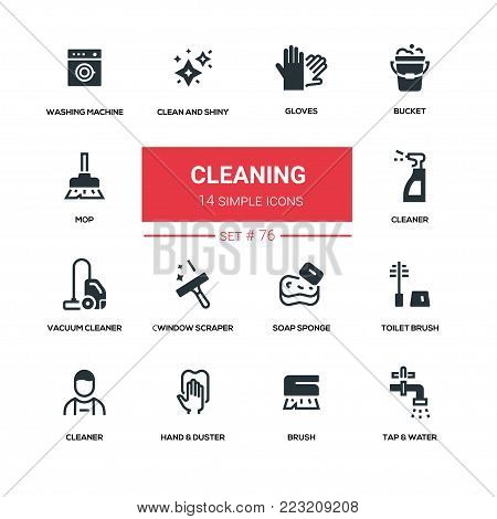 Cleaning - line design silhouette icons set. High quality black pictogram. Gloves, bucket, mop, clean and shiny, washing machine, vacuum cleaner, window scraper, soap sponge, toilet brush, hand and duster, tap