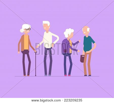 Retired people meeting - modern flat design style isolated illustration on lilac background. Smiling cheerful senior cartoon characters talking, laughing. High quality image for your presentation