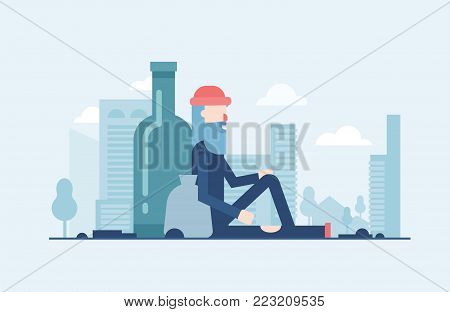 Homeless man - modern flat design style illustration isolated on blue urban background with skyscrapers silhouettes. Metaphorical image of a person sitting alone with a sack and a big bottle behind