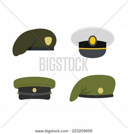 Military cap icon set. Flat set of military cap vector icons for web design isolated on white background