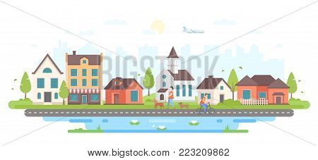Calm city life - modern flat design style vector illustration on white background. Lovely housing complex with small buildings, trees, pedestrian zone with people walking, church, pond with lilies