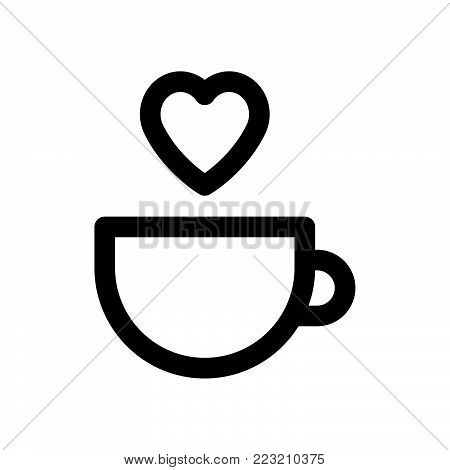 Coffee love icon isolated on white background. Coffee love icon modern symbol for graphic and web design. Coffee love icon simple sign for logo, web, app, UI. Coffee love icon flat vector illustration, EPS10.