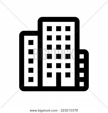 Building icon isolated on white background. Building icon modern symbol for graphic and web design. Building icon simple sign for logo, web, app, UI. Building icon flat vector illustration, EPS10.