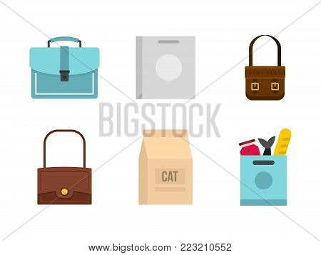 Bag icon set. Flat set of bag vector icons for web design isolated on white background