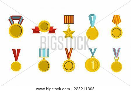 Gold medal icon set. Flat set of gold medal vector icons for web design isolated on white background
