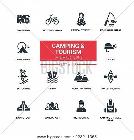 Camping and tourism - line design silhouette icons set. Medical, fishing, hunting, tent, trailering, bicycle touring, water, ski, diving, mountain hiking, caving, exotic, join a group, instructors, gear