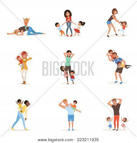 Cartoon set of tired young parents in different poses. Fathers, mothers, little boys and girls. Kids want to play. Reality of parenthood. Family action. Flat vector illustration isolated on white.
