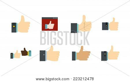 Thumb up icon set. Flat set of thumb up vector icons for web design isolated on white background