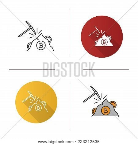 Navvy pick with bitcoin sign icon. Flat design, linear and color styles. Cryptocurrency mining. Pickaxe. Isolated vector illustrations