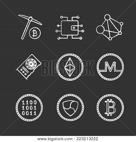 Cryptocurrency chalk icons set. Digital wallet, binary code, ethereum, bitcoin, monero, ripple coins, mining, graphic card, global network. Isolated vector chalkboard illustrations