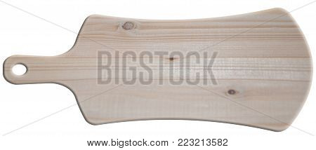 isolated on white background wooden kitchen Board. rectangular crimped with handle and hole