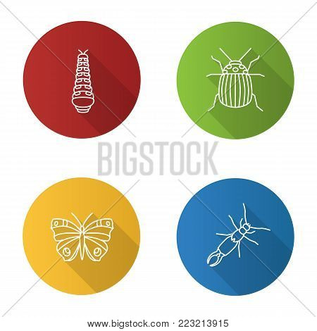 Insects flat linear long shadow icons set. Caterpillar, colorado beetle, butterfly, earwig. Vector outline illustration