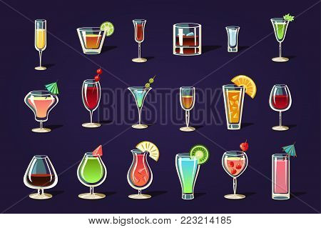Cartoon vector set with different transparent glasses and cocktails. Refreshing summer drinks. Tasty alcoholic beverages with umbrellas and fruits. Flat design for beach party poster, bar or menu.