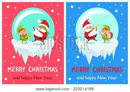 Merry Christmas and Happy New Year greeting card Santa and Elf playing hide-and-seek and on trumpet and drum musical instruments cartoon characters