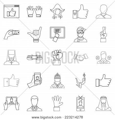 Sentiment icons set. Outline set of 25 sentiment vector icons for web isolated on white background