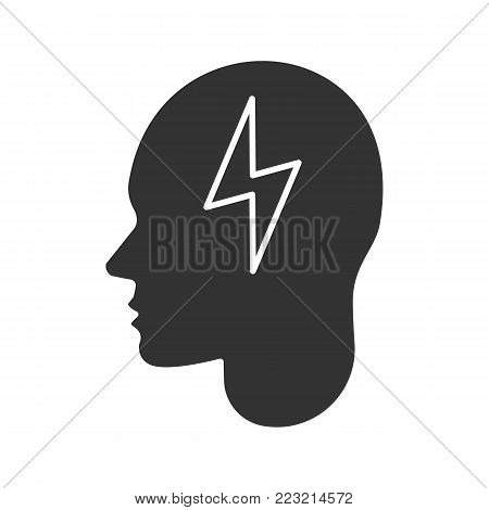 Human head with lightning bolt glyph icon. Artificial intelligence. Silhouette symbol. Brain charging. Negative space. Vector isolated illustration