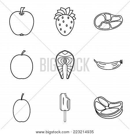 Intake icons set. Outline set of 9 intake vector icons for web isolated on white background