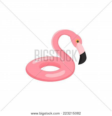 Vector flat summer symbol - pink flamingo bird inflatable swimming pool ring icon. Isolated illustration on white background for beach party advertising poster.