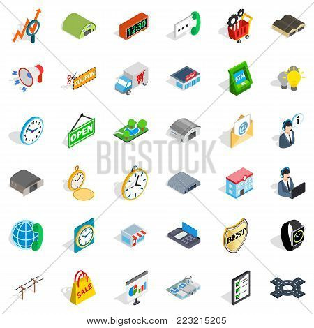 Logistic icons set. Isometric style of 36 logistic vector icons for web isolated on white background