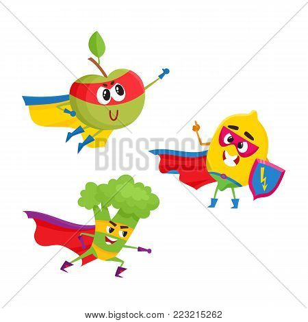 vector flat cartoon funny fruit, vegetable character in masks set. Lemon holds shield , broccoli ready to fight, apple flying like superman. Isolated illustration on a white background.