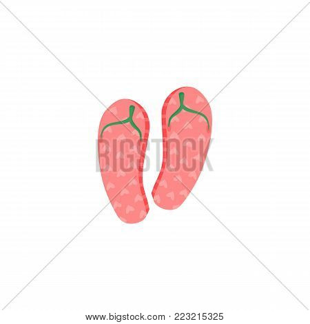 Pair of pink rubber flip-flops, typical summer vacation footwear, cartoon vector illustration isolated on white background. Cartoon rubber flip-flops, summer footwear