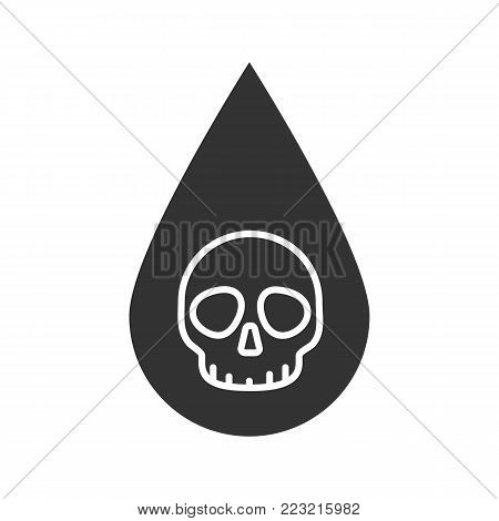 Liquid drop with skull glyph icon. Poison liquid. Silhouette symbol. Technical and non-potable water. Negative space. Vector isolated illustration