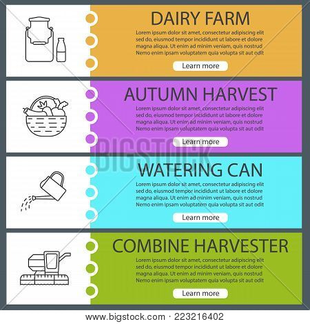 Agriculture web banner templates set. Dairy farm, autumn harvest, watering can, combine harvester. Website color menu items with linear icons. Vector headers design concepts