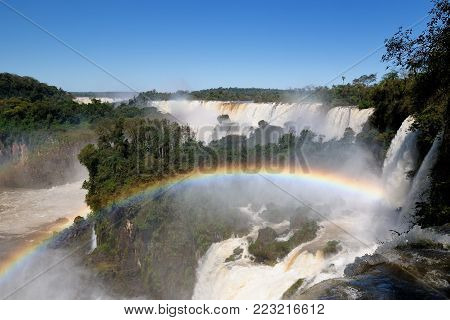 The largest waterfalls on the Earth, located on the border Brazil, Argentina, and Paraguay. Iguazu Falls, South America