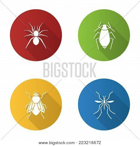 Insects flat design long shadow glyph icons set. Spider, aphid, housefly, mosquito. Vector silhouette illustration