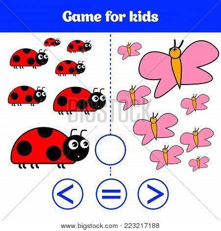 Education Logic Game For Preschool Kids. Choose The Correct Answer. More, Less Or Equal Vector Illus