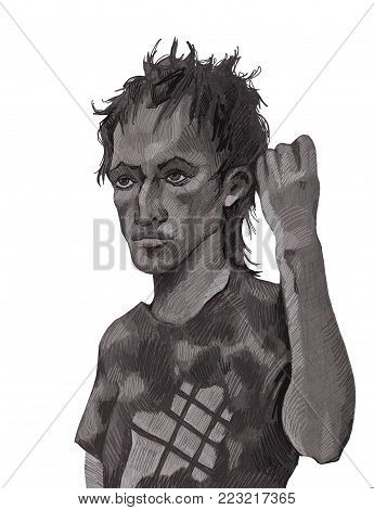 Portrait of a hulligan drawn in pencil on a white background