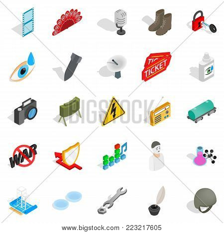 Labor icons set. Isometric set of 25 labor vector icons for web isolated on white background