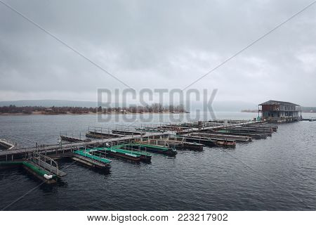Boat Parking on the river Volga. Fisherman's Wharf