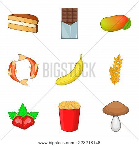 Go to a cafe icons set. Cartoon set of 9 go to a cafe vector icons for web isolated on white background