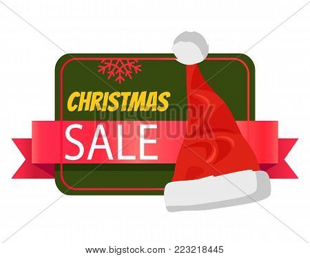 Christmas sale promo label with Santa Claus hat, polygon on green background, snowflake sign, advertisement badge with red winter headwear icon