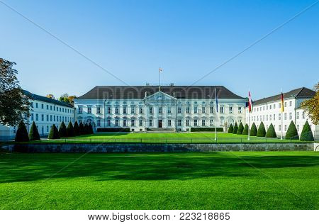 Bellevue Palace, official residence of the Federal President in Berlin. NIce Colors for cover print or travel marketing