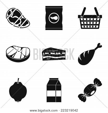 Grocery store icons set. Simple set of 9 grocery store vector icons for web isolated on white background