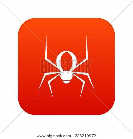 Spider icon digital red for any design isolated on white vector illustration