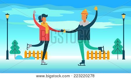 Couple figure skating on ice in park with pine trees and fence, lanterns and clear blue sky, people ice-skating, isolated on vector illustration