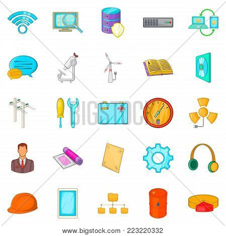 Engineering department icons set. Cartoon set of 25 engineering department vector icons for web isolated on white background