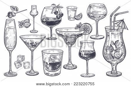 Alcoholic drinks set. Glass of champagne, margarita, brandy, whiskey with ice, cocktail, wine, vodka, tequila and cognac. Isolated black and white vintage engraving. Hand drawing. Vector illustration