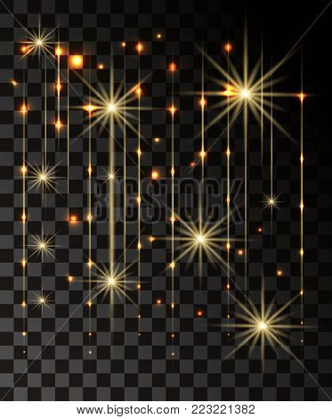 Glow isolated gold transparent effect, lens flare, explosion, glitter, line, sun flash, spark and stars. For illustration template art design, banner for Christmas celebrate, magic flash energy ray.