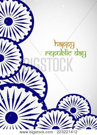 illustration of Indian flag wheels with Happy republic day text on the occasion of Indian Republic day