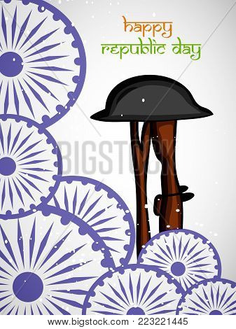 illustration of Indian flag wheels and rifle in hat with Happy republic day text on the occasion of Indian Republic day
