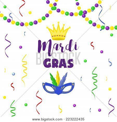 Mardi Gras carnival party vector background masquerade celebration festival poster design holiday purple brochure. Venetian mardi gras mask with feathers beads, joker, fleur de lis party decorations.