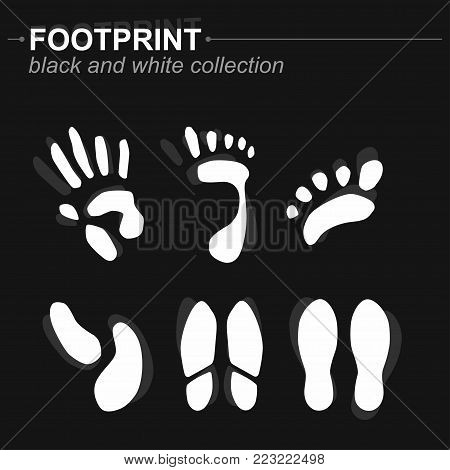 Set of prints of the hands and feet, footprints, silhouette, isolated on black background. Vector