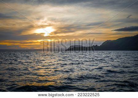 Taupo Lake landscape at sunset, New Zealand